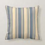 [ Thumbnail: Slate Gray & Beige Colored Pattern Throw Pillow ]