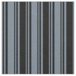 [ Thumbnail: Slate Gray & Black Colored Lines/Stripes Pattern Fabric ]