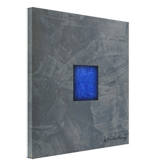 Slate Gray Cobalt Blue Modern Art With Signature Canvas Print
