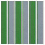 [ Thumbnail: Slate Gray, Dark Green & Beige Lines Pattern Fabric ]