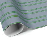 [ Thumbnail: Slate Gray & Dark Green Colored Striped Pattern Wrapping Paper ]