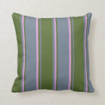 [ Thumbnail: Slate Gray, Dark Olive Green, and Plum Colored Throw Pillow ]