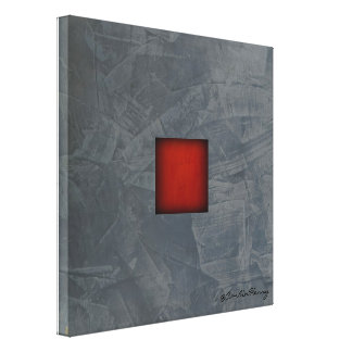 Slate Gray Dramatic Red Modern Art Canvas Print