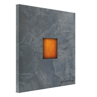 Slate Gray Gold Stucco Modern Art Canvas Print