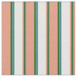 [ Thumbnail: Slate Gray, Green, Dark Salmon, Mint Cream & Teal Fabric ]