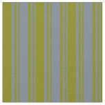 [ Thumbnail: Slate Gray & Green Lines Fabric ]