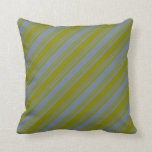 [ Thumbnail: Slate Gray & Green Lines Throw Pillow ]