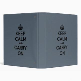 Slate Gray Keep Calm and Carry On (black) Binders