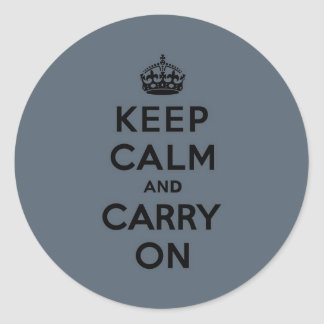 Slate Gray Keep Calm and Carry On (black) Classic Round Sticker