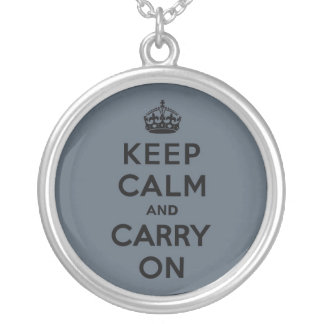 Slate Gray Keep Calm and Carry On (black) Round Pendant Necklace