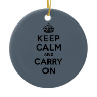 Slate Gray Keep Calm and Carry On (black) Christmas Tree Ornaments