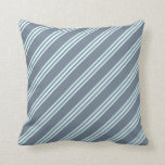 [ Thumbnail: Slate Gray & Light Cyan Lines Throw Pillow ]