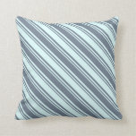[ Thumbnail: Slate Gray & Light Cyan Stripes Throw Pillow ]
