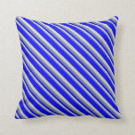 [ Thumbnail: Slate Gray, Light Grey, and Blue Colored Pattern Throw Pillow ]