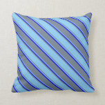 [ Thumbnail: Slate Gray, Light Sky Blue, and Blue Colored Throw Pillow ]