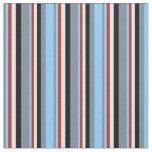 [ Thumbnail: Slate Gray, Light Sky Blue, Red, White & Black Fabric ]