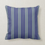 [ Thumbnail: Slate Gray & Midnight Blue Colored Lines Pillow ]