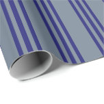 [ Thumbnail: Slate Gray & Midnight Blue Colored Lines Wrapping Paper ]