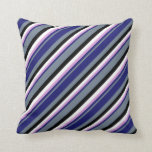 [ Thumbnail: Slate Gray, Midnight Blue, Plum, White & Black Throw Pillow ]