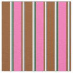 [ Thumbnail: Slate Gray, Mint Cream, Brown, Hot Pink & Green Fabric ]