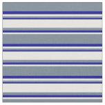 [ Thumbnail: Slate Gray, Mint Cream & Dark Blue Lines Fabric ]