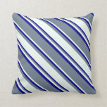 [ Thumbnail: Slate Gray, Mint Cream & Dark Blue Lines Pillow ]