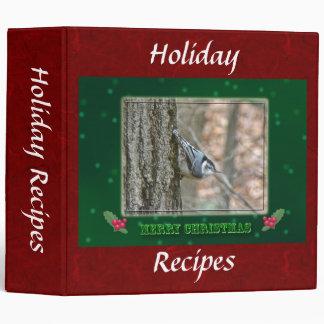 Slate Gray Nuthatch Christmas Holiday Recipes Binder