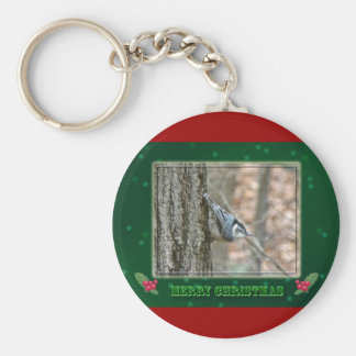 Slate Gray Nuthatch Christmas Songbird Christmas Keychain