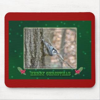 Slate Gray Nuthatch Christmas Songbird Christmas Mouse Pad