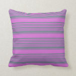 [ Thumbnail: Slate Gray & Orchid Colored Lined/Striped Pattern Throw Pillow ]