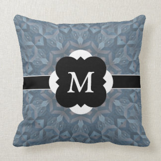 Slate Gray Pattern with Monogram Feature Throw Pillows