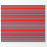 [ Thumbnail: Slate Gray & Red Colored Stripes/Lines Pattern Wrapping Paper ]