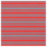 [ Thumbnail: Slate Gray & Red Colored Stripes Pattern Fabric ]