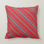 [ Thumbnail: Slate Gray & Red Colored Stripes Pattern Pillow ]