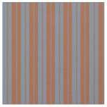[ Thumbnail: Slate Gray & Sienna Colored Stripes/Lines Pattern Fabric ]