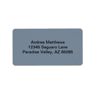 Slate Gray Solid Color Address Label