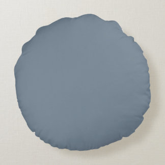 Slate Gray Solid Color Round Pillow