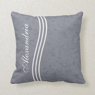 Slate Gray Striped Monogram Throw Pillow