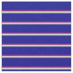 [ Thumbnail: Slate Gray, Tan, Purple & Dark Blue Pattern Fabric ]