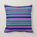 [ Thumbnail: Slate Gray, Teal, Hot Pink, and Blue Pattern Throw Pillow ]