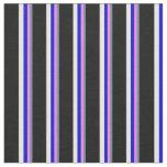 [ Thumbnail: Slate Gray, Violet, Blue, White & Black Stripes Fabric ]