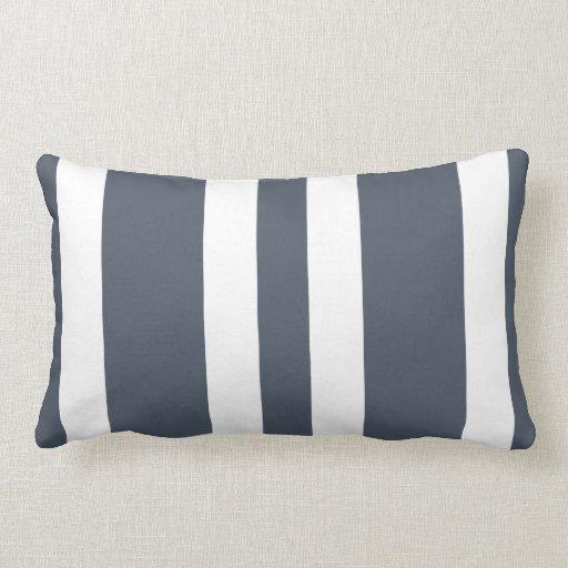 Slate Gray & White Stripe Lumbar Pillow Gift