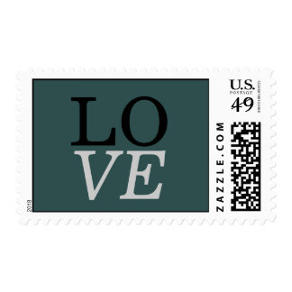 Slate Grey Background Love Wedding Stamp