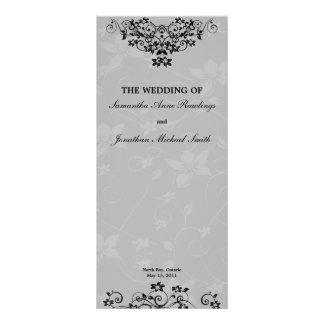 Slate Grey Chandelier Floral Wedding Program Rack Card Design