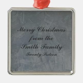 Slate Grey Venetian Plaster Christmas Metal Ornament