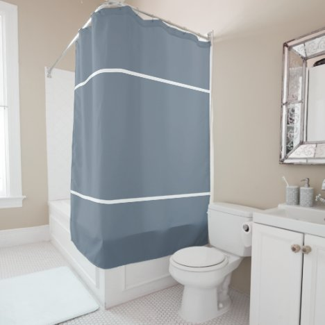 Slate Grey White Lines Shower Curtain