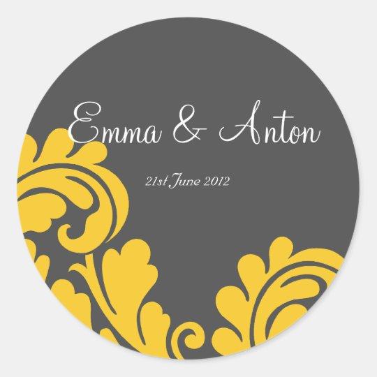 slate grey & yellow damask Favor/Envelope sticker