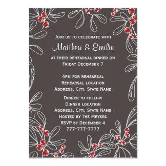 Slate Modern Mistletoe Holiday Rehearsal Dinner 4.5x6.25 Paper Invitation Card