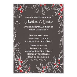 Slate Modern Mistletoe Holiday Rehearsal Dinner Card