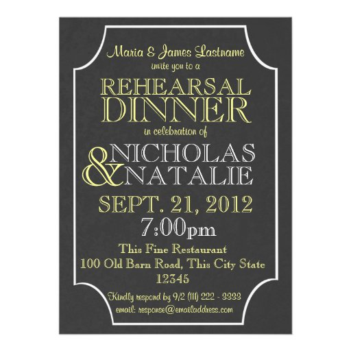 Slate Sign Board Rehearsal Dinner Announcement
